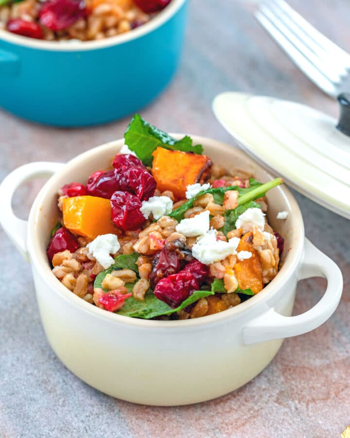 Roasted Cranberry Farro Salad with Curry Dressing -- This hearty cranberry farro salad is packed with the delicious flavors of butternut squash, tart cranberries, and creamy goat cheese. It makes for a delicious side dish or satisfying lunch | wearenotmartha.com #cranberries #butternutsquash #farro #healthysalads