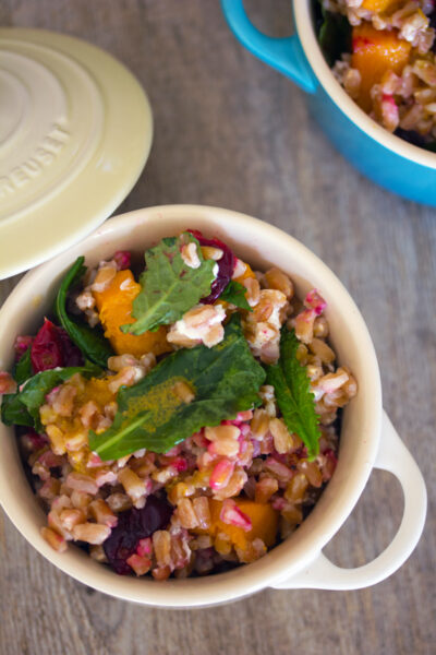 Roasted Cranberry Farro Salad with Curry Dressing