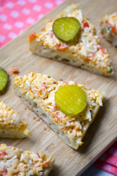 Roasted Jalapeño Pimento Cheese Toast -- A classic appetizer made even better | wearenotmartha.com