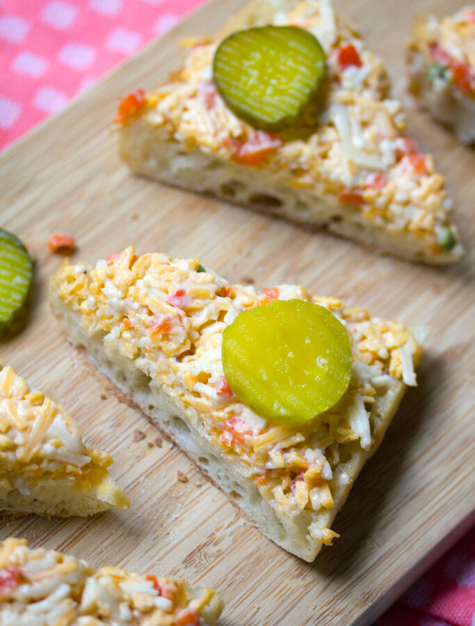 Roasted Jalapeño Pimento Cheese Toast -- A classic appetizer made even better | wearenotmartha.com