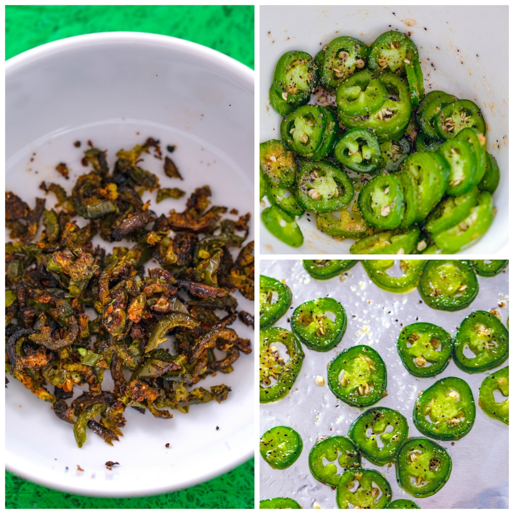 Collage showing process for roasting jalapeños, including jalapeño rounds with oil and spices in bowl, jalapeño rounds laid out on a baking sheet, and jalapeños roasted and chopped in a bowl
