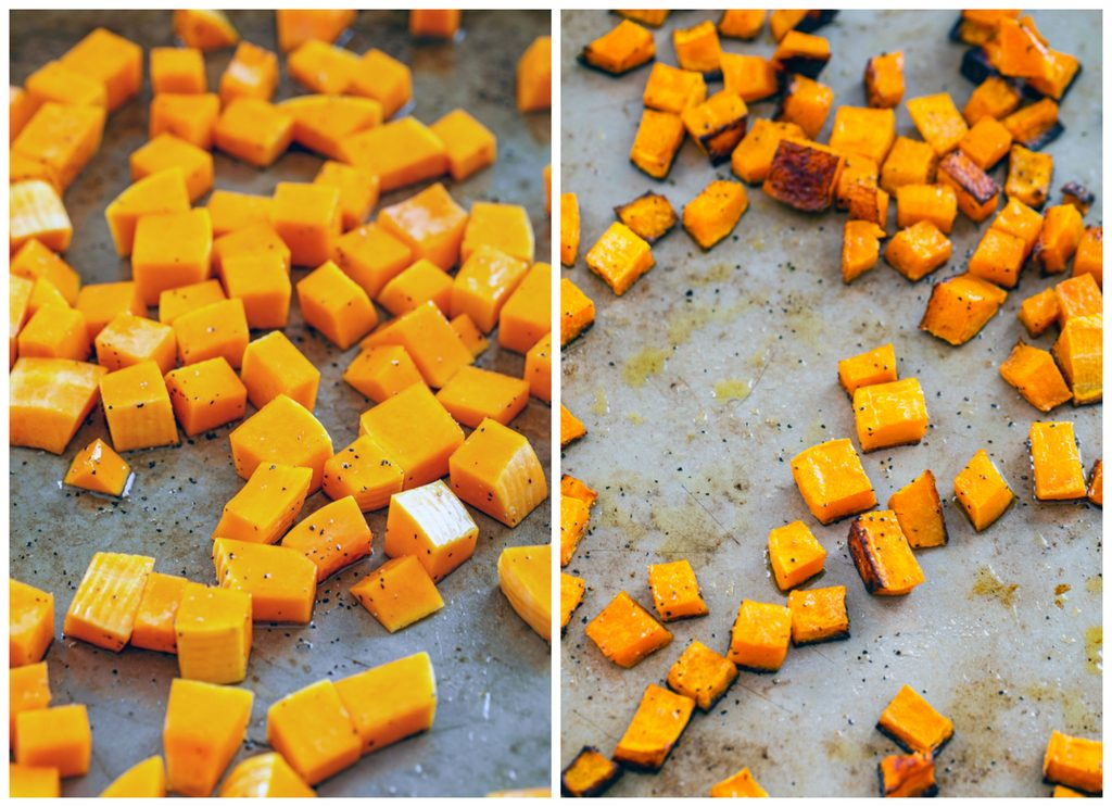 One photo showing cubed butternut squash on a baking sheet and another photo showing roasted butternut squash just out of the oven on a baking sheet