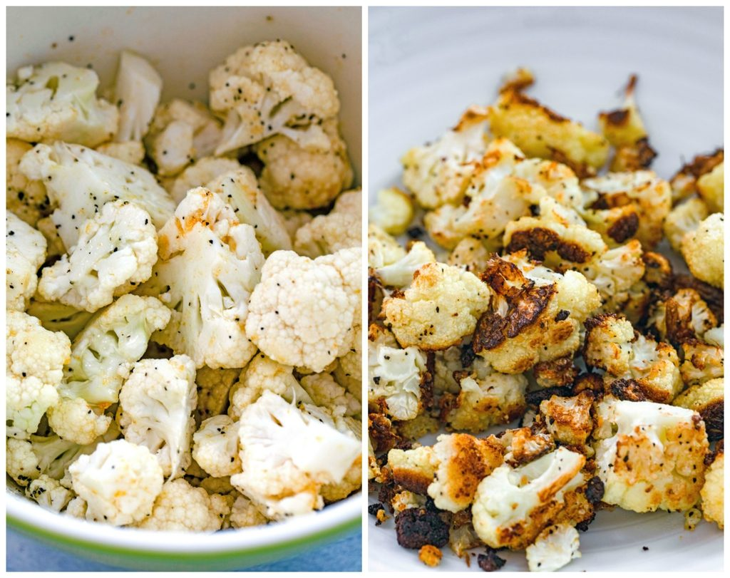 Collage showing process for roasting cauliflower, including cauliflower florets in a bowl tossed with olive oil and salt and pepper and cauliflower roasted and golden brown in a bowl