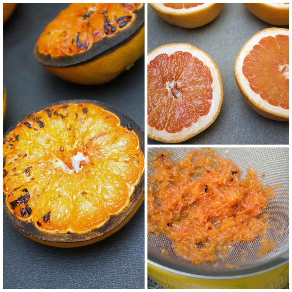 Collage showing grapefruit on baking sheet, grapefruit broiled on baking sheet, and grapefruit juice being pushed through a strainer
