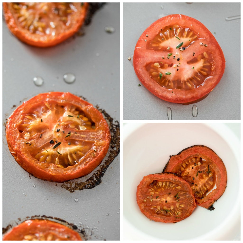 Collage showing sliced tomatoes on a baking sheet, sprinkled with thyme, salt, and pepper; showing the tomatoes roasted; and showing the tomatoes in a ramekin