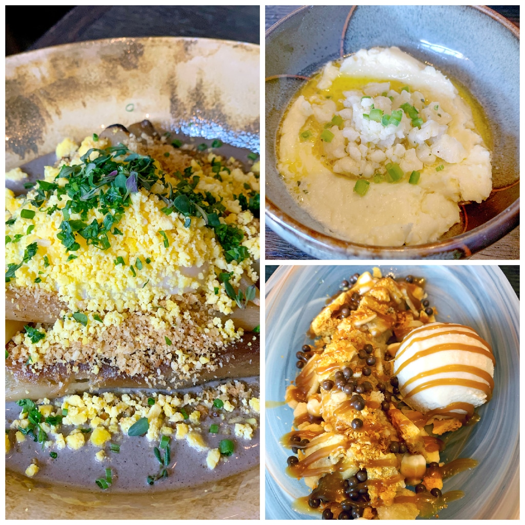 Collage showing various dishes from Chicago's Roister, including salsify, white cheddar rillettes, and banana split dessert