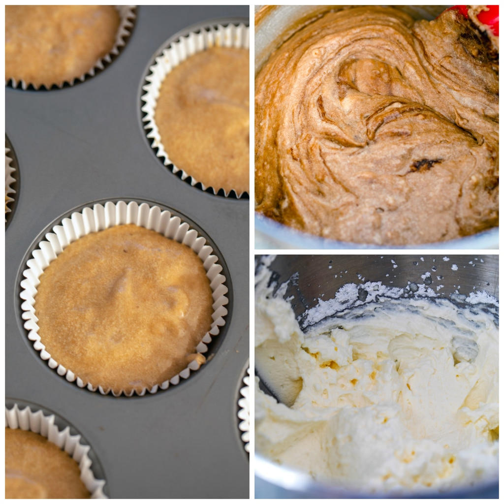 Collage showing process of making cupcakes, including cupcake batter being mixed, cupcake batter in tin, and whipped cream frosting being beaten