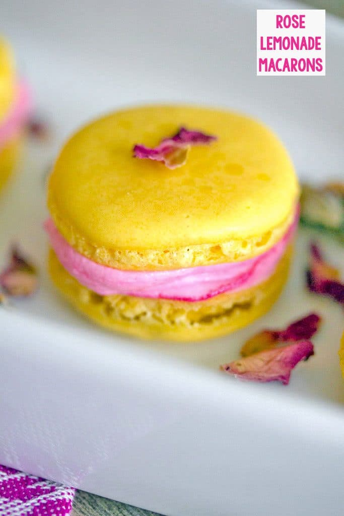 Head-on view of a single yellow lemonade macaron with pink rose buttercream, topped with pink rosebuds on a white platter with recipe title at top