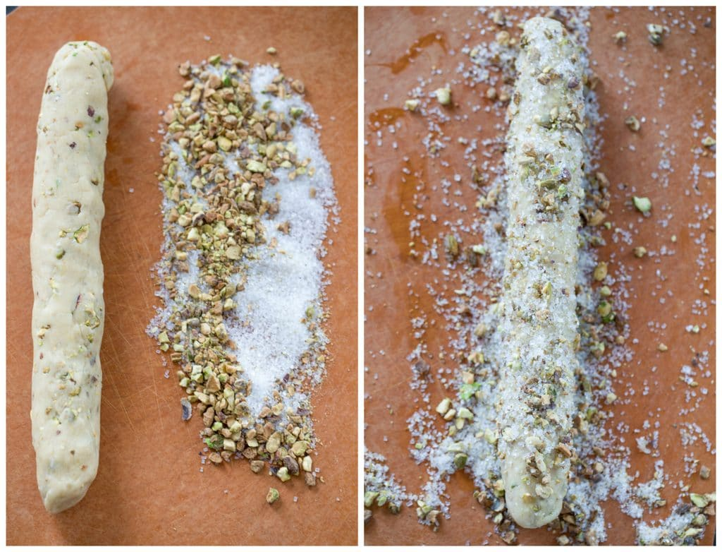 Collage showing chilled dough log ready to roll in crushed pistachio and sugar blend and dough log covered in pistachios and sugar