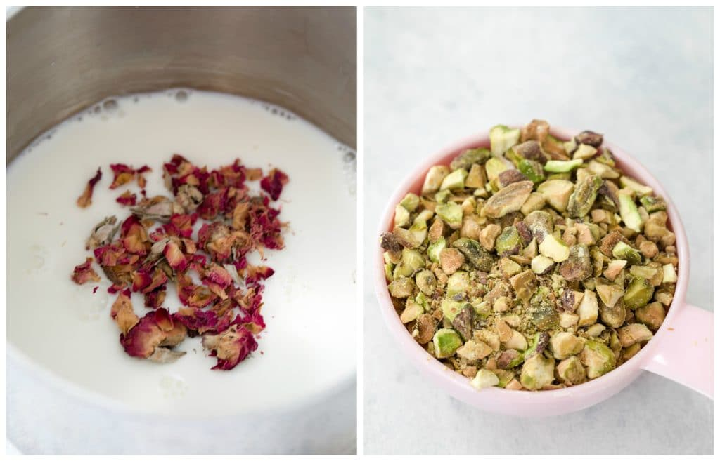 Collage showing rose petals steeping in milk in a saucepan and a measuring cup filled with pistachios