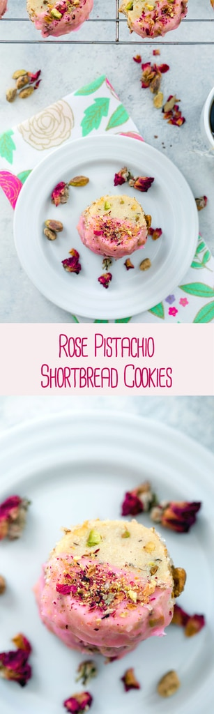 Rose Pistachio Shortbread Cookies -- These cookies take the best ever shortbread cookie recipe and add a fresh twist with crushed pistachio nuts and a pink rose petal icing | wearenotmartha.com #cookies #shortbread #pistachio #rose
