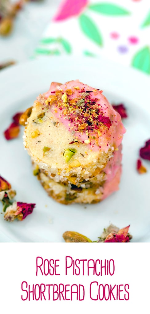 Rose Pistachio Shortbread Cookies -- These cookies take the best ever shortbread cookie recipe and add a fresh twist with crushed pistachio nuts and a pink rose petal icing   wearenotmartha.com #cookies #shortbread #pistachio #rose