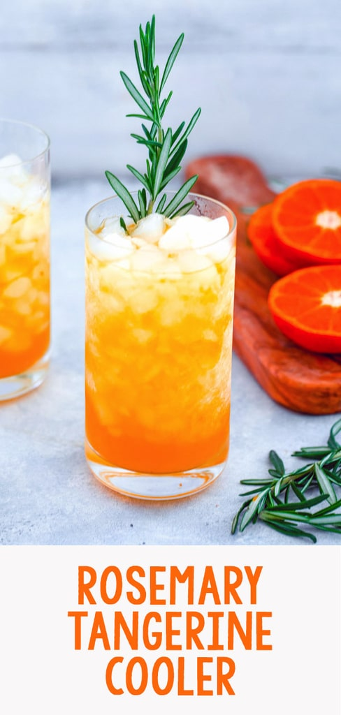 Rosemary Tangerine Cooler -- Caramelized citrus and herbs mix together for this delightful rum-based Tangerine and Rosemary Cocktail | wearenotmartha.com #cocktails #citrus #rum #rosemary