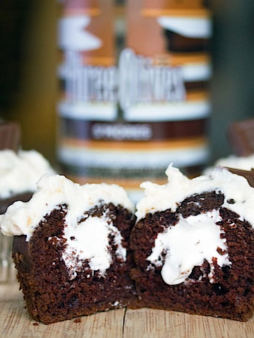 S'Mores Vodka Cupcakes -- A dreamy combination of s'mores vodka and chocolate make these cupcakes delicious | wearenotmartha.com