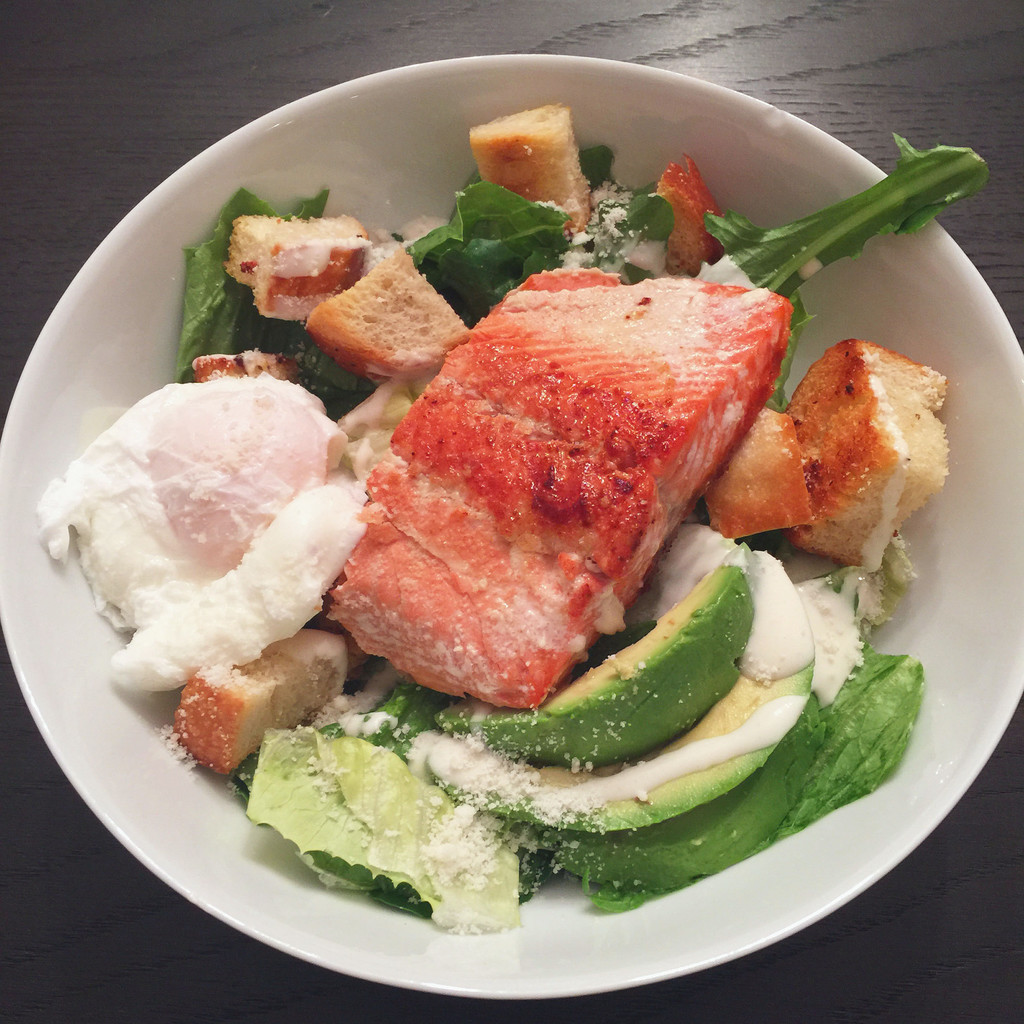 Salmon and Poached Egg Caesar Salad | wearenotmartha.com
