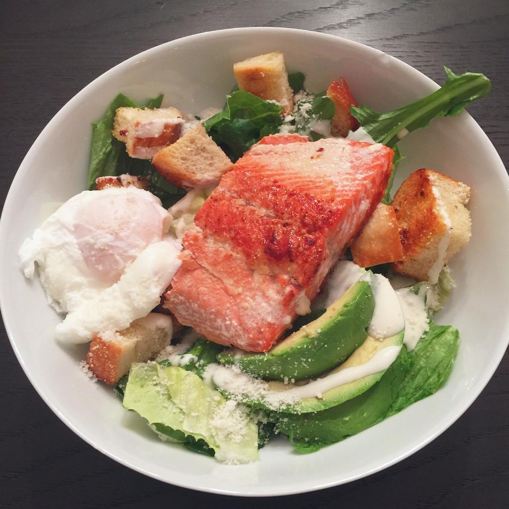 Salmon and Poached Egg Caesar Salad | wearenotmartha.com