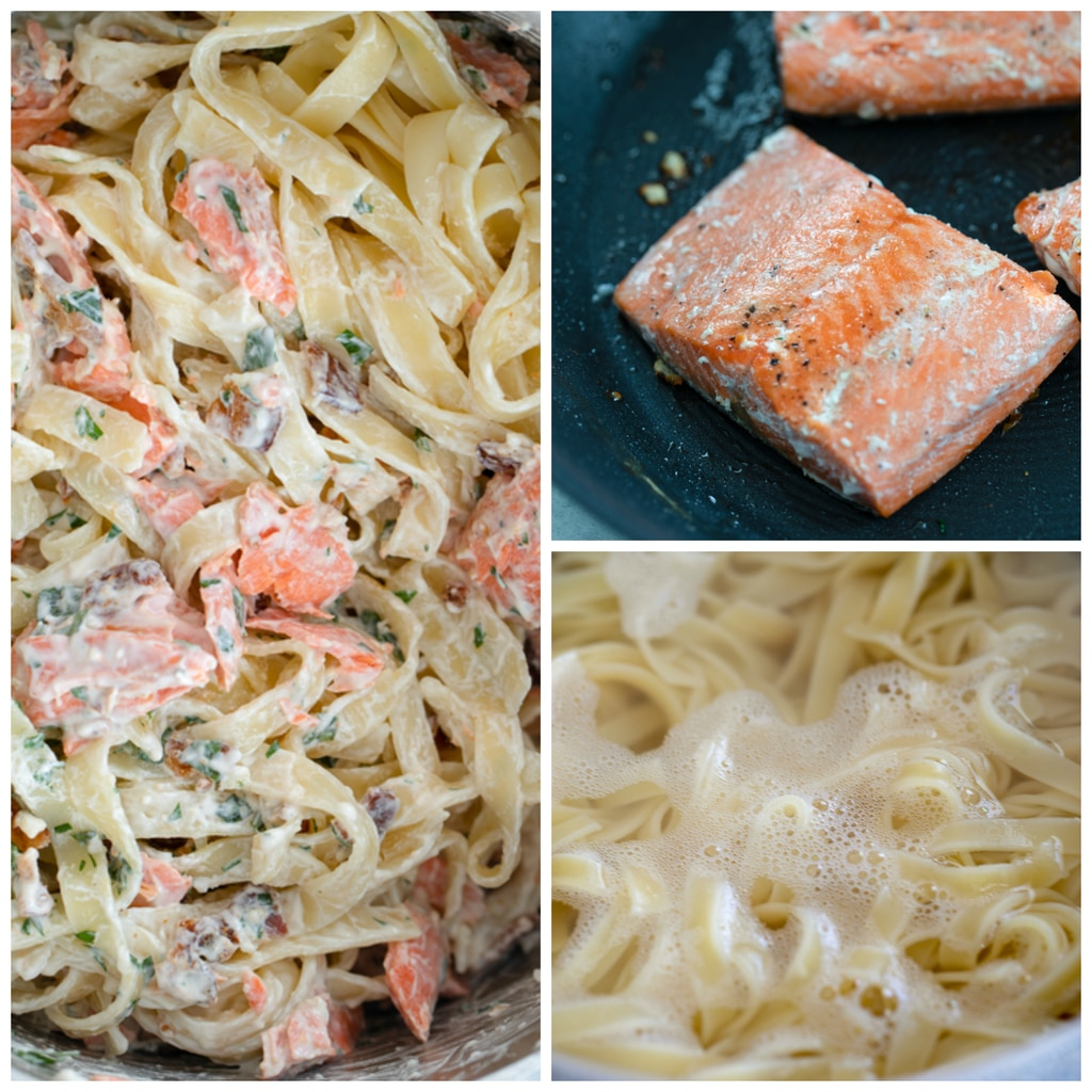 Collage showing close-up of caesar dressing covered fettuccine with bacon and herbs, pan with salmon cooking, and pot with fettuccine boiling