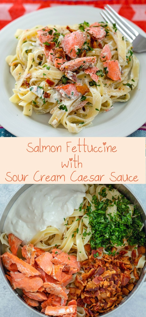 Salmon Fettuccine with Sour Cream Caesar Sauce – This deliciously creamy salmon pasta dish is packed full of flavor thanks to a caesar sauce made with Hood Sour Cream, lots of fresh herbs, and bacon. It's incredibly easy to make and will be on your table in no time! | wearenotmartha.com #caesar #pasta #sourcream #dinner #salmon