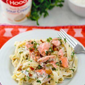 Salmon Fettuccine with Sour Cream Caesar Sauce