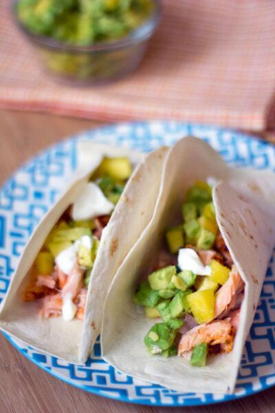 Salmon Tacos with Avocado Mango Salsa