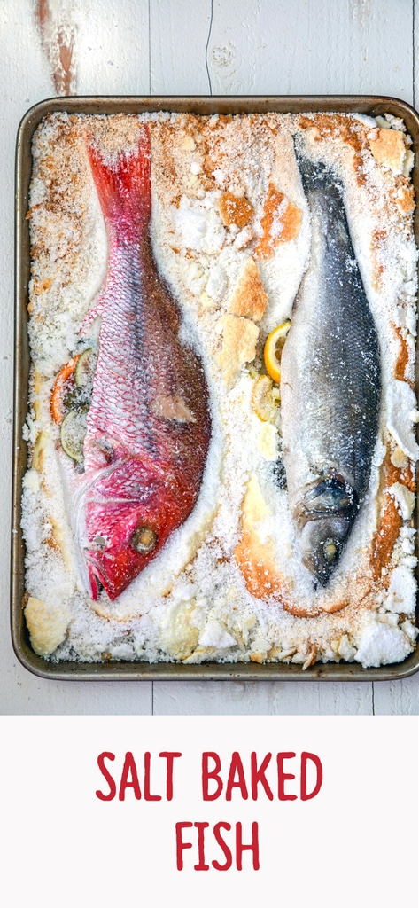 Salt Baked Fish -- You might be surprised to learn how easy it is to make salt baked fish... And the results are an incredibly moist and well-seasoned fish with a gorgeous presentation | wearenotmartha.com #fish #snapper #branzino #saltbaked