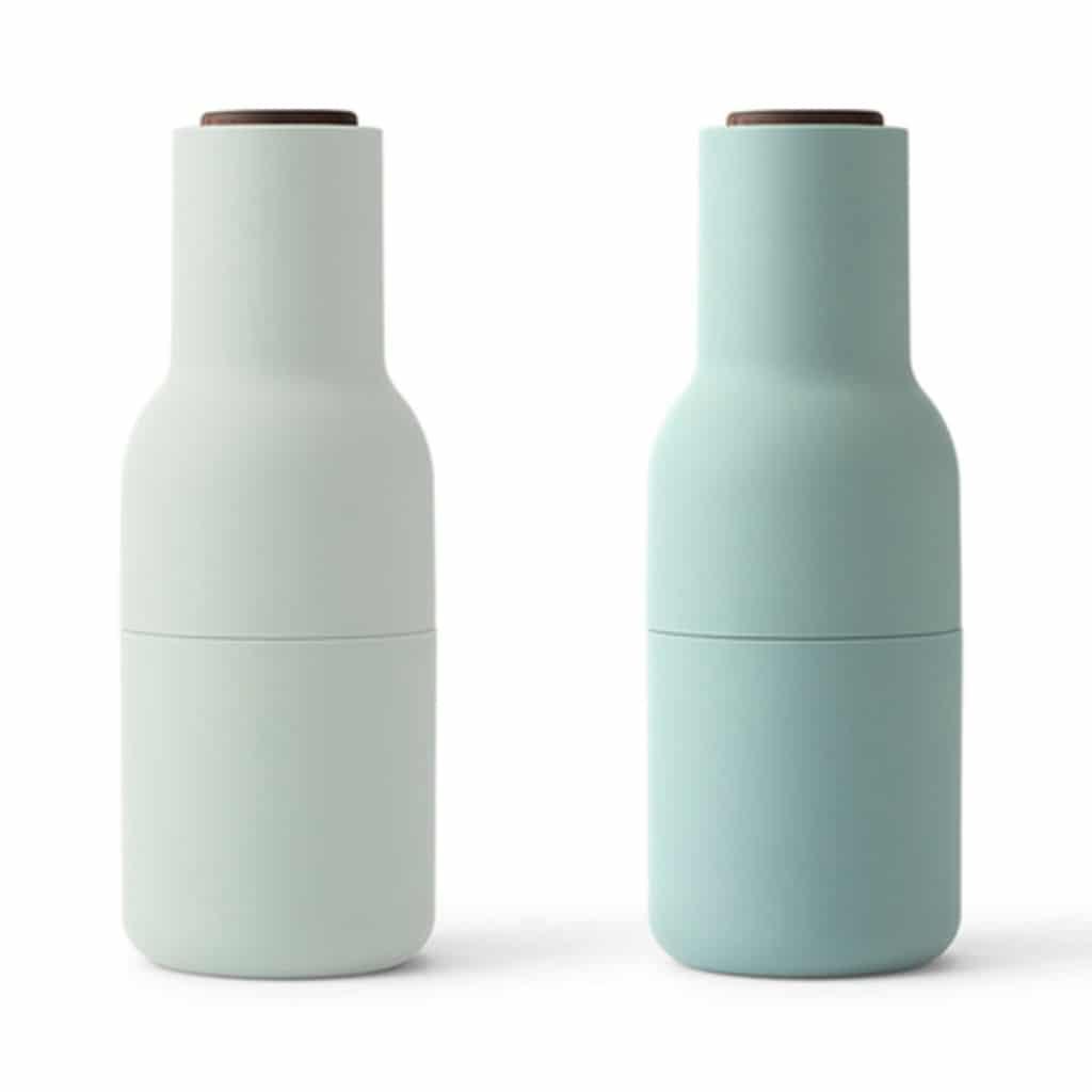 Teal bottle grinders for salt and pepper