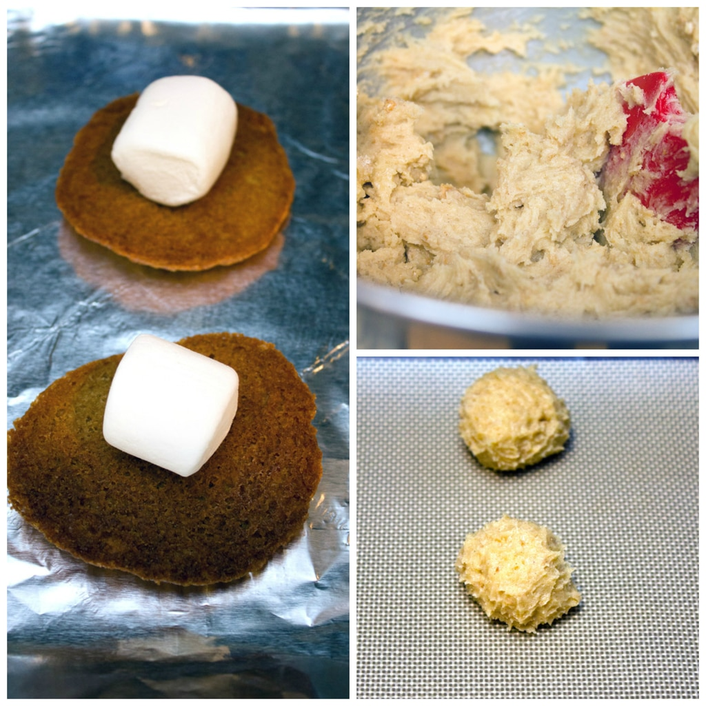 Collage showing process for making salted caramel cookie s'mores, including batter in mixing bowl, balls of dough on cookie sheet, and baked cookies on cookie sheet with marshmallows on top of them