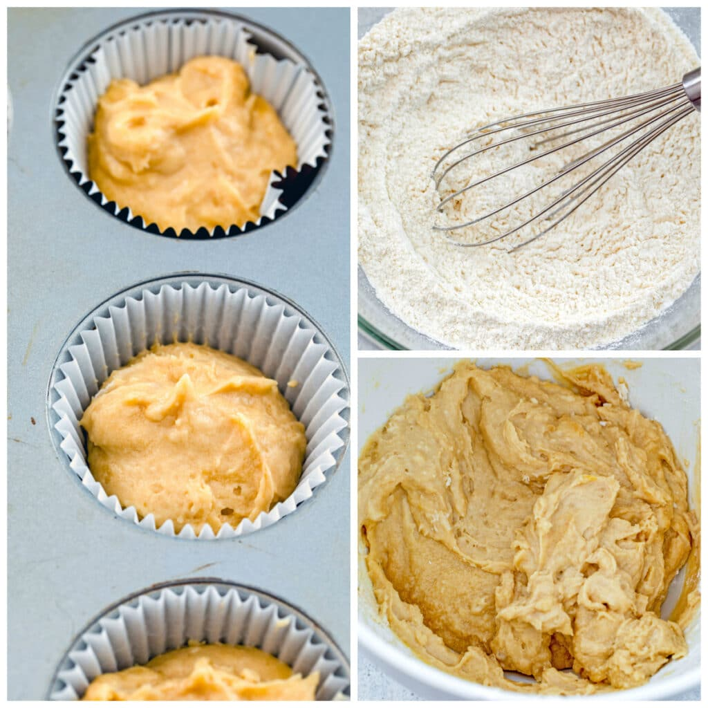 Collage showing process for making cupcakes, including dry ingredients mixed in bow, batter in bowl, and batter in cupcake tins ready for oven