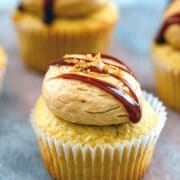 Salted Caramel Cupcakes -- These Salted Caramel Cupcakes involve three delicious elements: the cupcake, the salted caramel filling, and the salted caramel frosting. If you like salted caramel, you will love these cupcakes! | wearenotmartha.com #saltedcaramel #cupcakes #caramel #caramelcupcakes #frosting