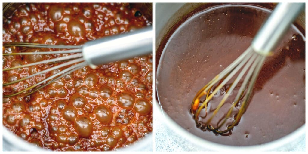 Collage showing process for making caramel filling, including caramel foaming in saucepan and caramel cooling in saucepan