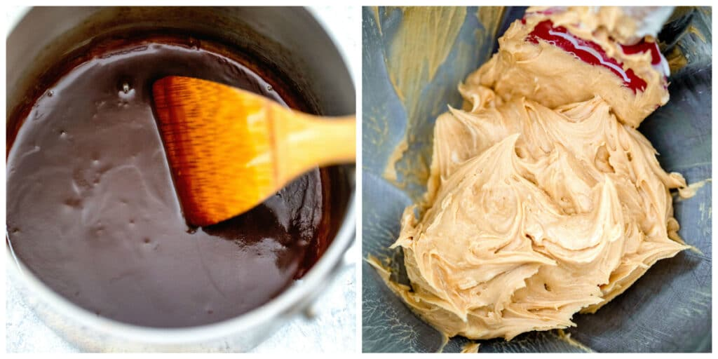 Overhead view of caramel in saucepan and caramel blended into buttercream frosting