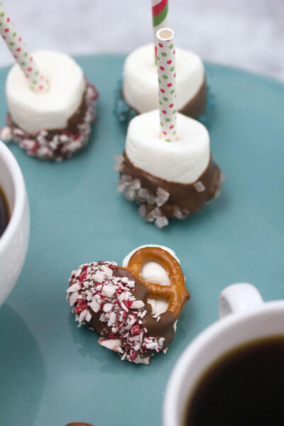 Salted Caramel Hot Cocoa Peppermint Pretzel Bites -- An easy to make holiday dessert! | wearenotmartha.com