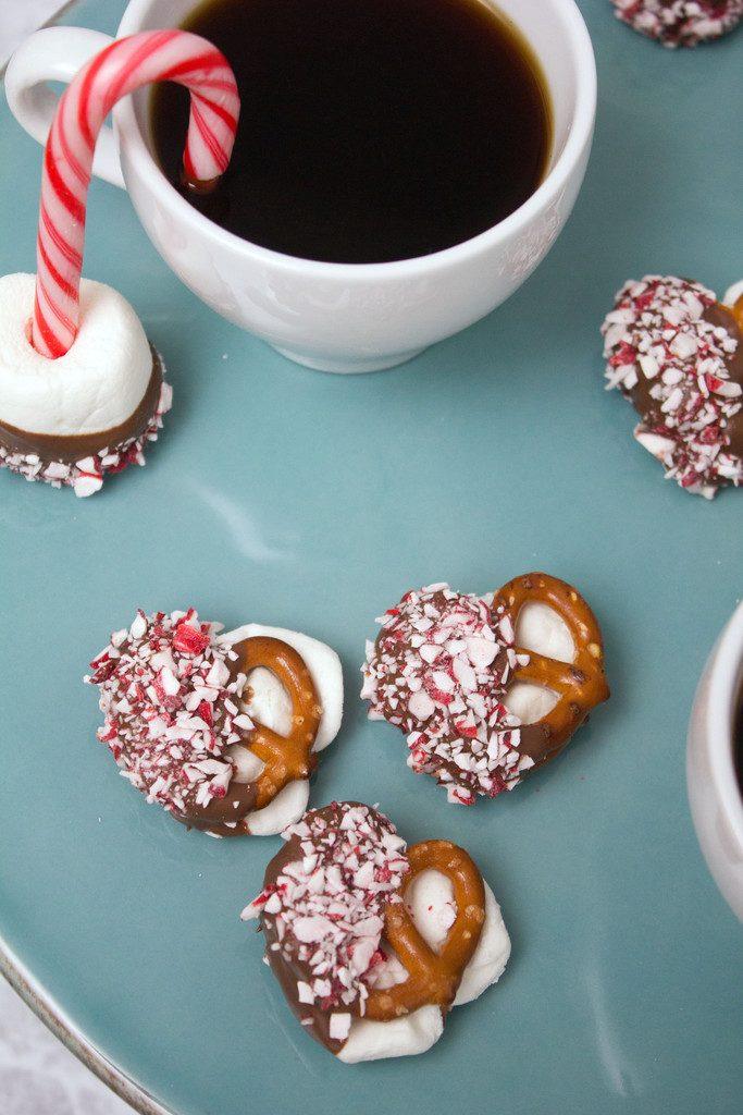 Salted Caramel Hot Cocoa Peppermint Pretzel Bites -- An easy to make holiday dessert! | wearenotmartha.com