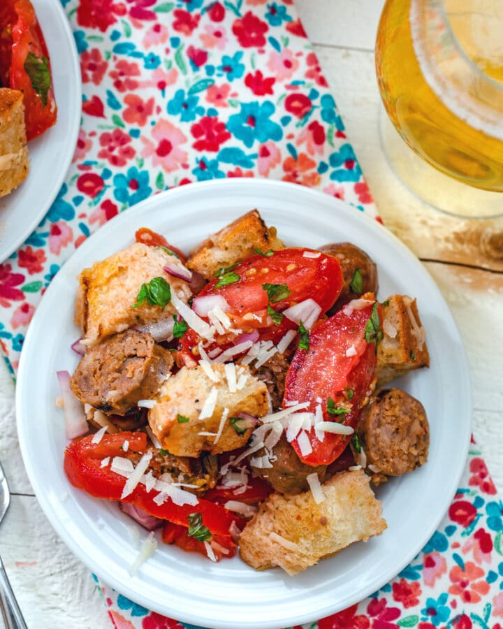 Sausage Panzanella -- It's easy enough to fall in love with tomato and bread salads, but when sausage is added? You'll be obsessed with this Sausage Panzanella salad this summer! | wearenotmartha.com #panzanella #summersalads #summer #tomatoes #sausage