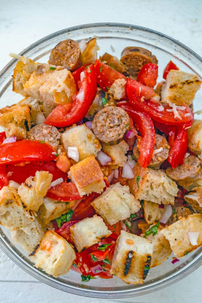 Sausage panzanella all mixed together in serving bowl