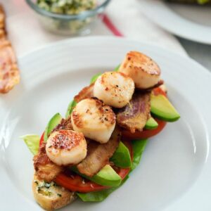 Seared Scallop BLT -- If you love the classic BLT sandwich, you need to try one topped with herbed butter, avocado, and simple seared scallops | wearenotmartha.com