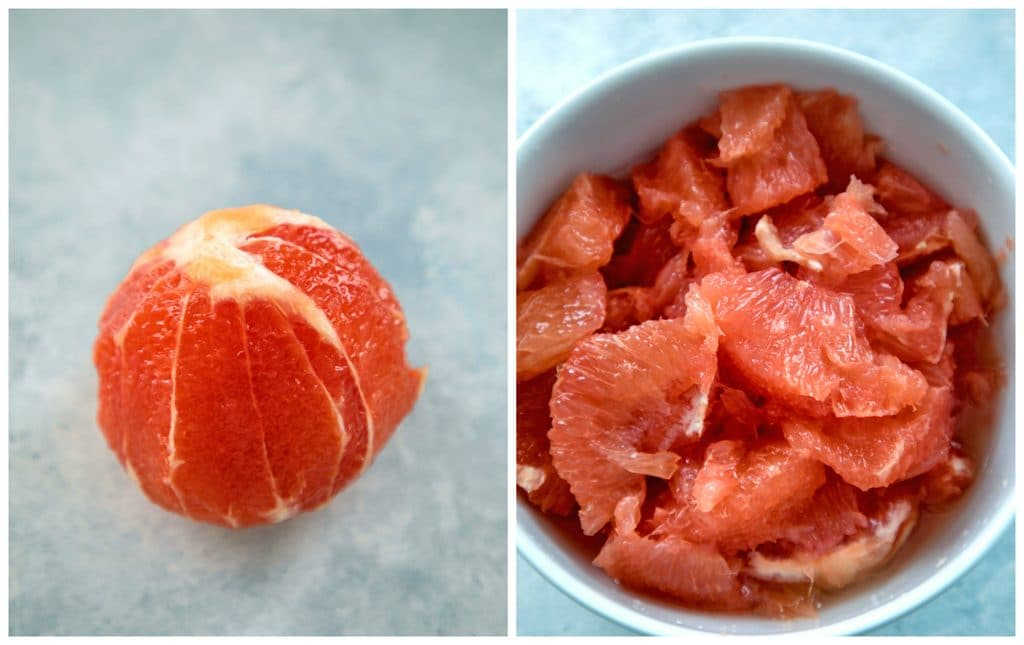 Collage showing grapefruit with peel and pith removed and a bowl with grapefruit sections in it