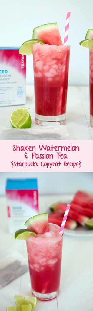 Shaken Watermelon and Passion Tea -- This Starbucks iced tea is only sold in Japan, but you can enjoy it with this Starbucks copycat recipe! | wearenotmartha.com #starbucks #icedtea #passionfruit #watermelon #copycat