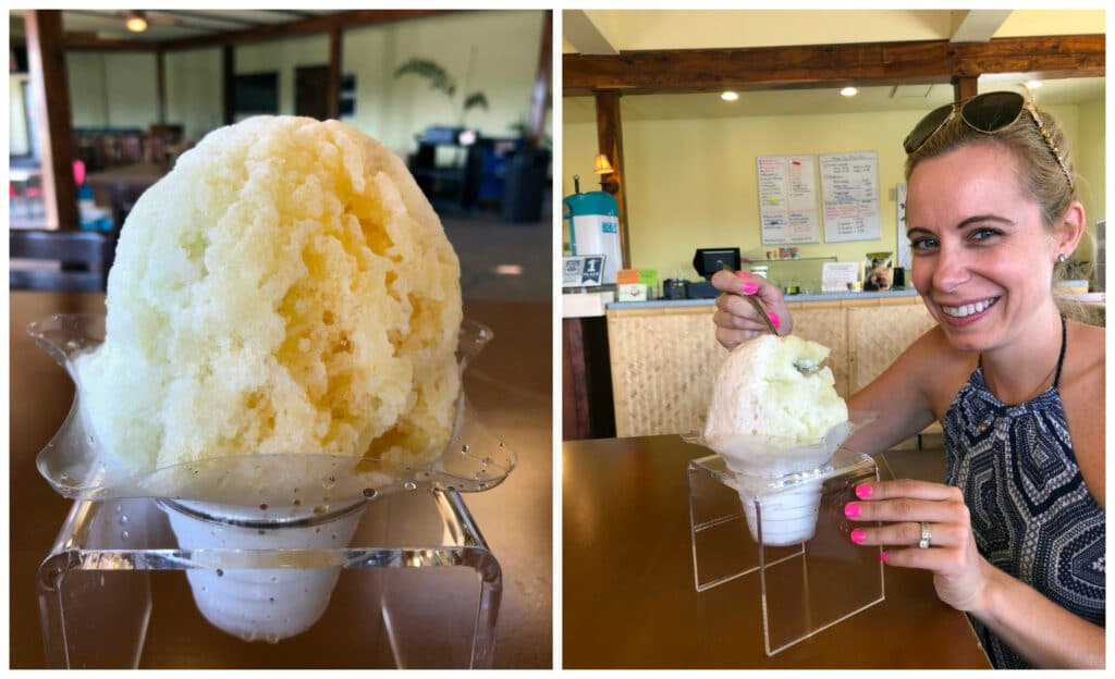 Lime, passionfruit, coconut shave ice and Sues eating shave ice at One Aloha Shave Ice in Kona on the Big Island of Hawaii