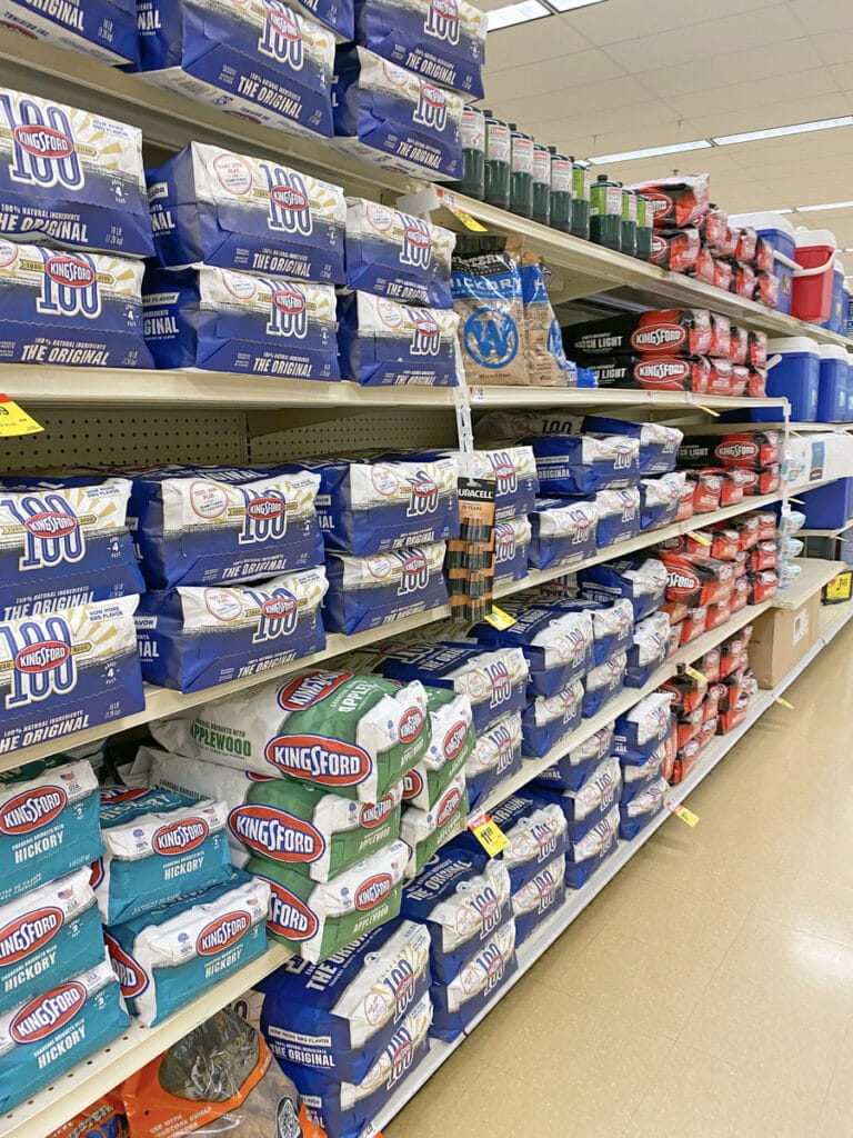 View of shelves with grilling supplies at Shaw's