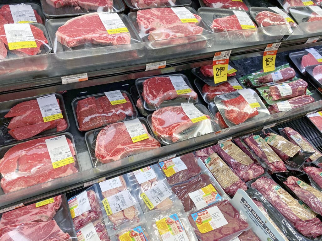 View of selection of meats in meat department at Shaw's