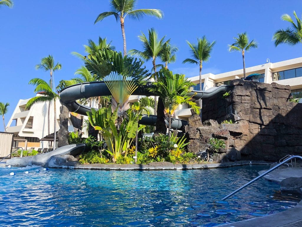 Waterslide at the pool at Sheraton Kona Resort and Spa at Keauhou in Kona on the Big Island of Hawaii