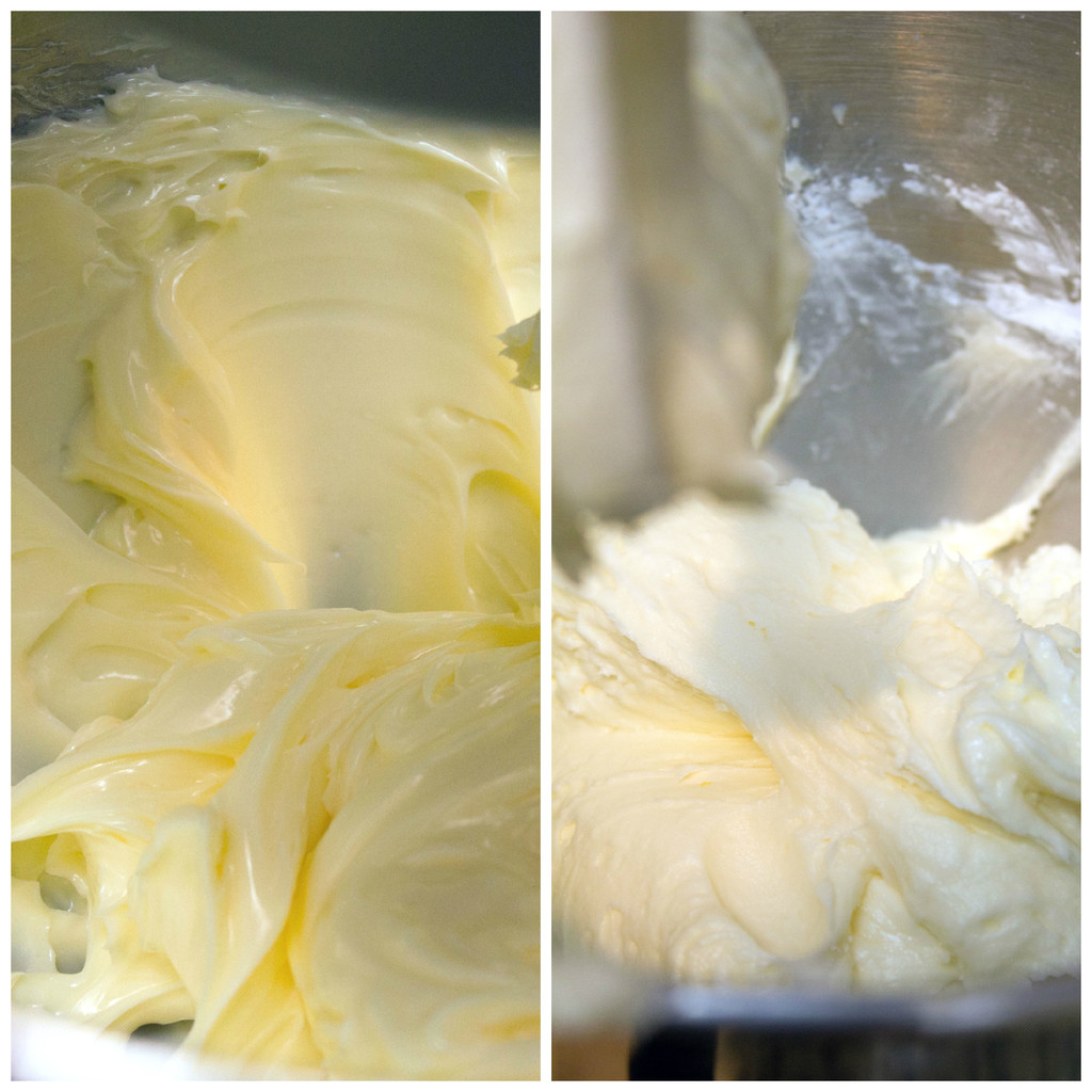 A collage showing the making of buttercream frosting, including butter creamed in mixing bowl and buttercream frosting mixed in mixer