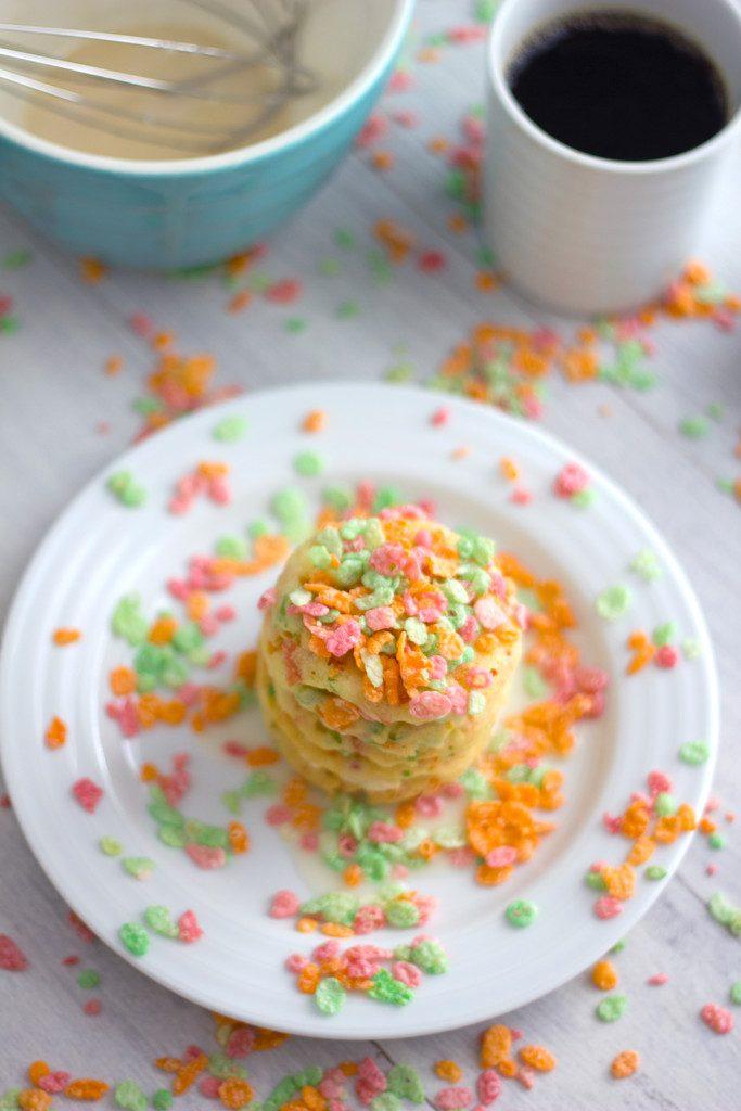 Sherbet Fruity Pebbles Pancakes -- Pancakes made in a whoopie pie pan! | wearenotmartha.com