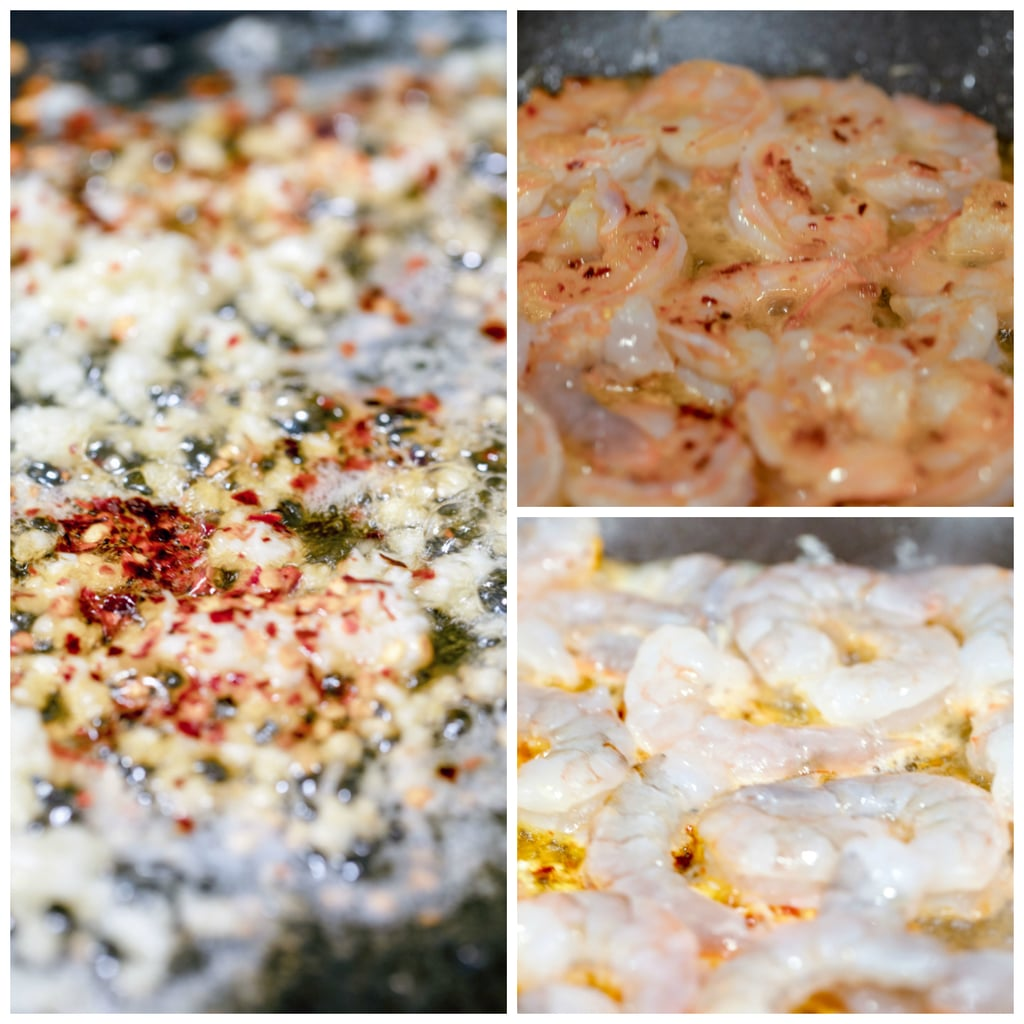 Collage showing shrimp cooking process, including garlic and red hot pepper flakes cooking in olive oil, shrimp cooking in oil and shrimp turning pink in oil