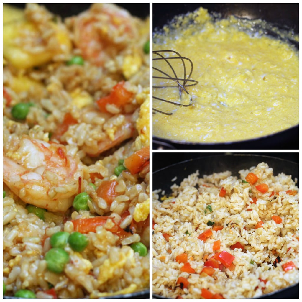 Collage showing making of chili mango shrimp pineapple fried rice, including eggs being scrambled, rice being cooked with peppers, and shrimp and other ingredients being tossed with rice