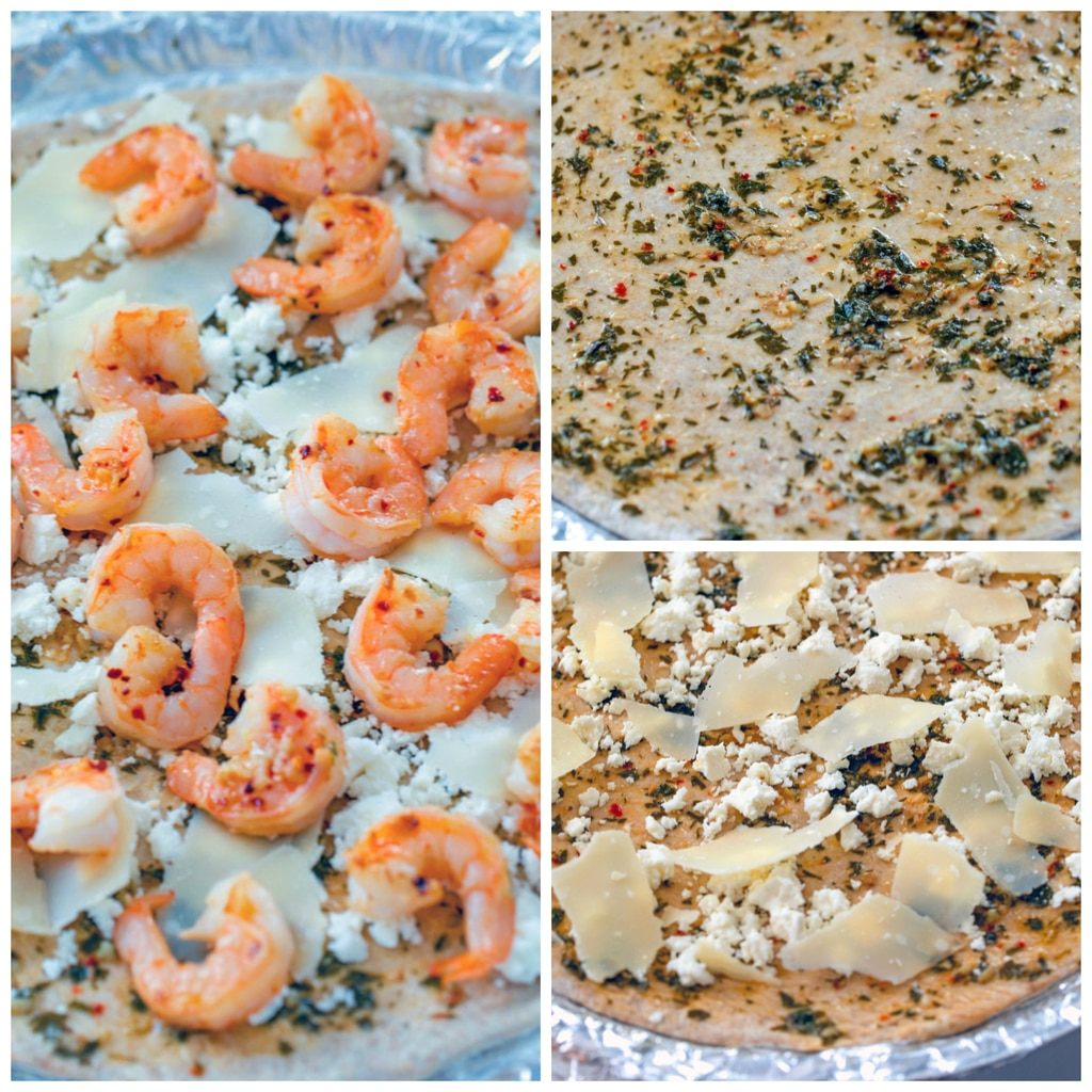 Collage showing shrimp scampi pizza constructing collage, including dough brushed with garlic and parsley olive oil, dough topped with feta and parmesan cheese, and dough topped with shrimp ready for oven