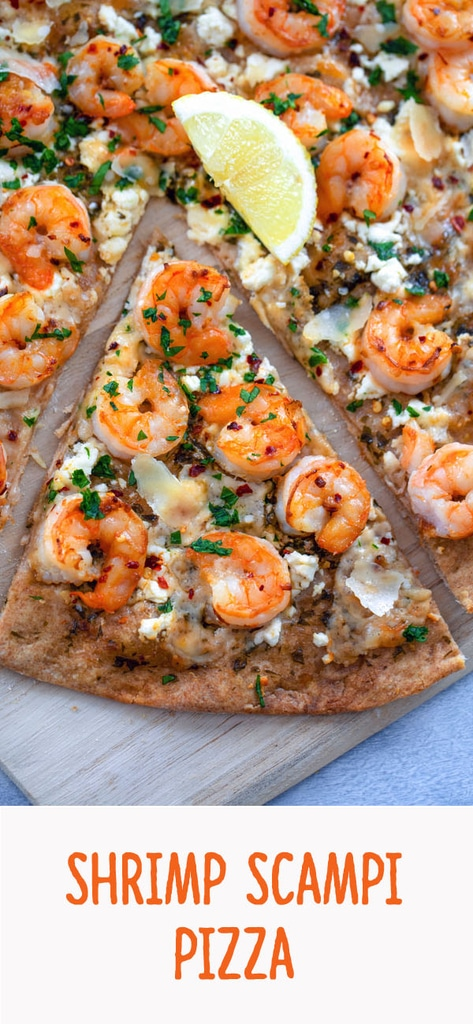 Shrimp Scampi Pizza -- It's rare I meet a pizza I don't like, but this Shrimp Scampi Pizza is in a class of its own. With a super thin crust, a healthy dose of garlic and lemon juice, salty feta, and plenty of shrimp, you'll likely find yourself craving this pizza instead of a bowl of pasta | wearenotmartha.com #shrimp #shrimpscampi #pizza
