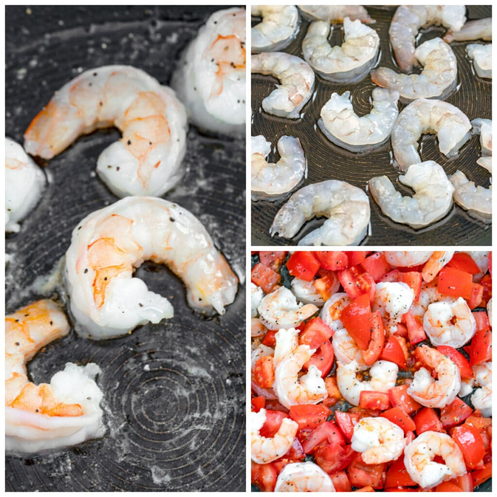 Collage with one photo showing process for cooking shrimp in olive oil and one photo showing shrimp and chopped tomatoes in pan together