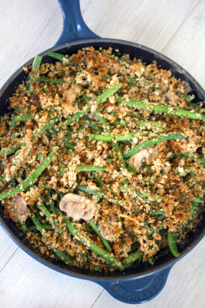 Skillet Green Bean Casserole -- a traditional dish reimagined with the freshest ingredients | wearenotmartha.com